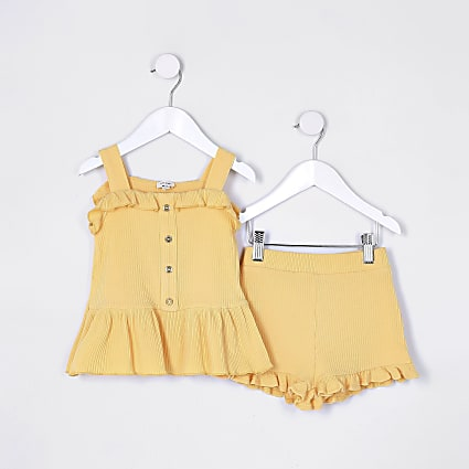 Mini girls yellow frill cami top outfit