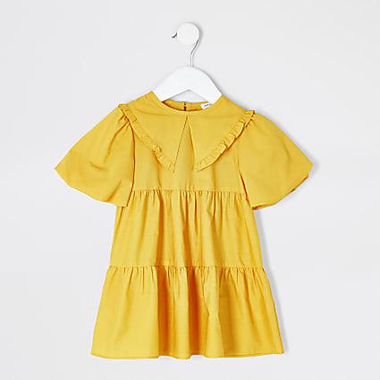 Mini girls yellow frill collar smock dress