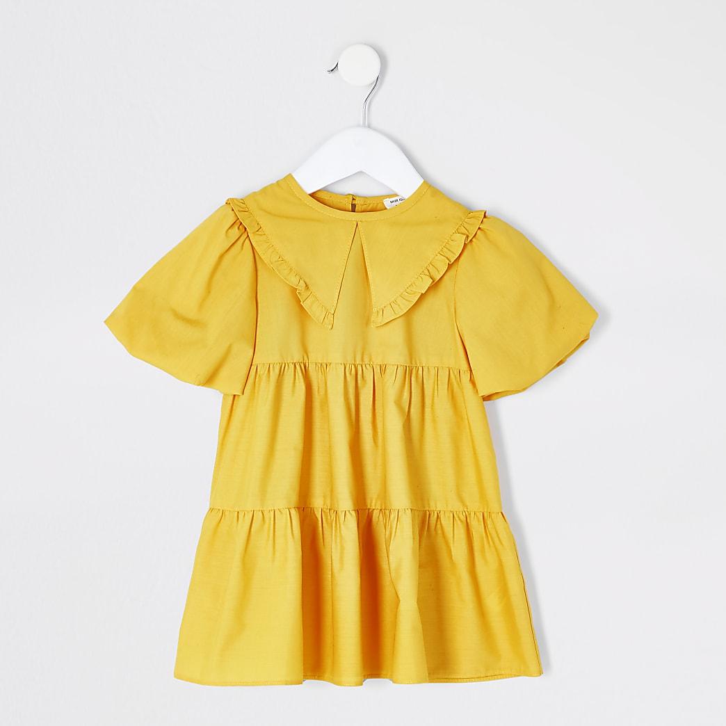 Mini - Gele gesmokte jurk met ruches rond kraag voor meisjes