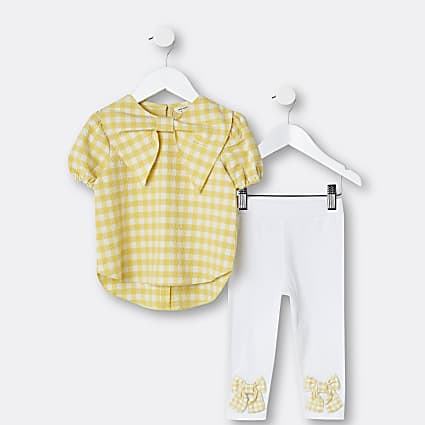 Mini girls yellow gingham blouse top outfit