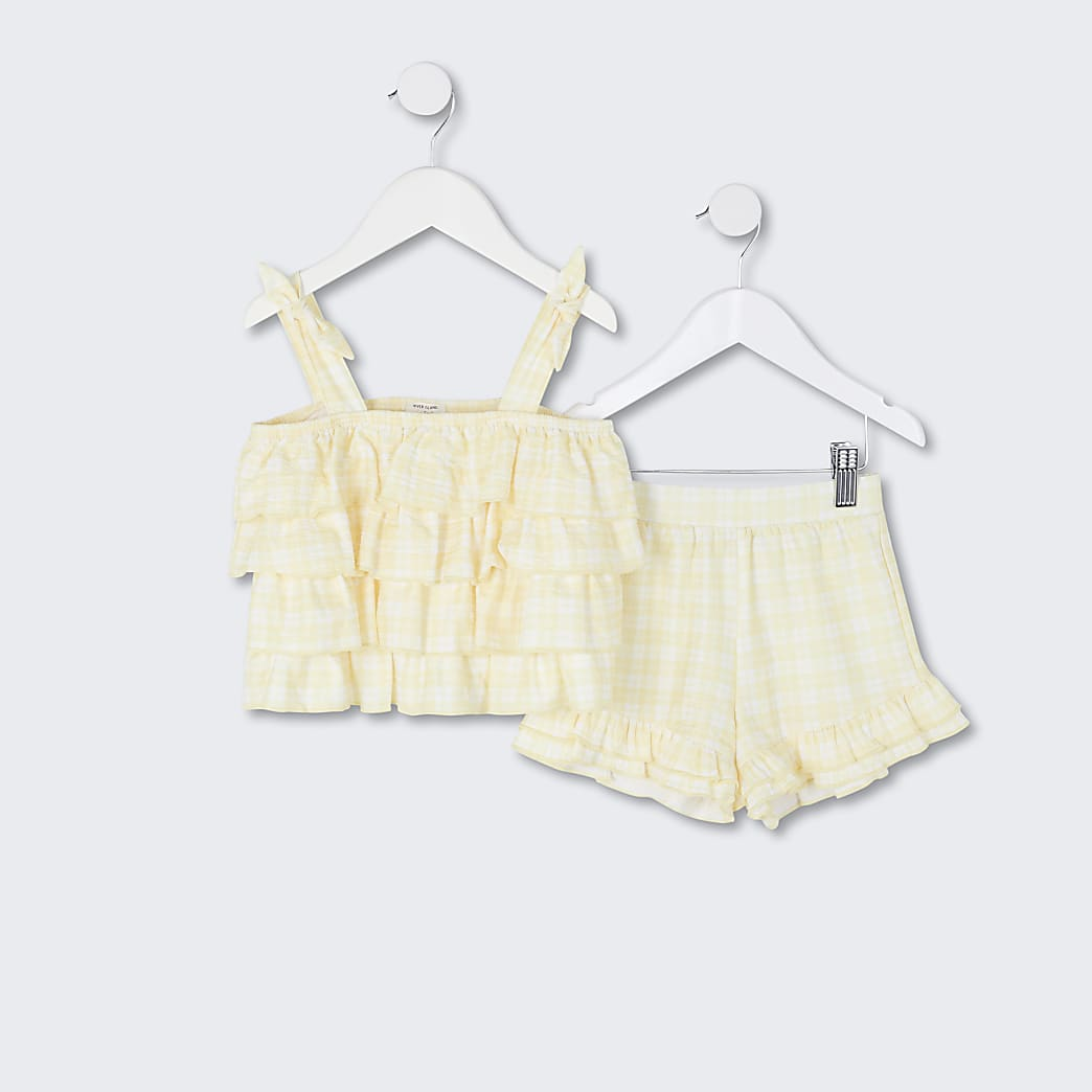 Mini girls yellow gingham cami short set