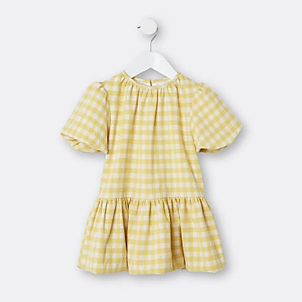 Mini girls yellow gingham smock dress