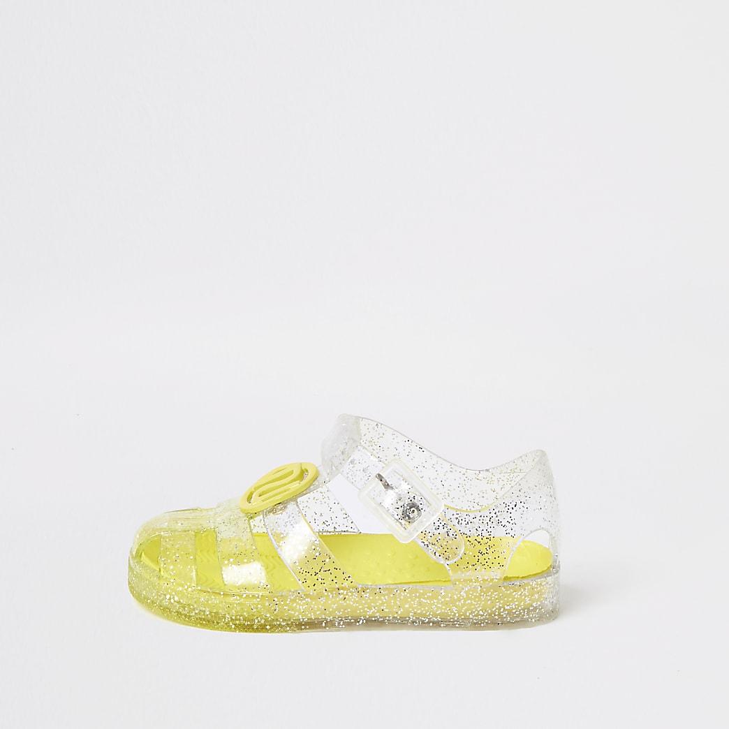 Mini girls yellow glitter jelly sandals