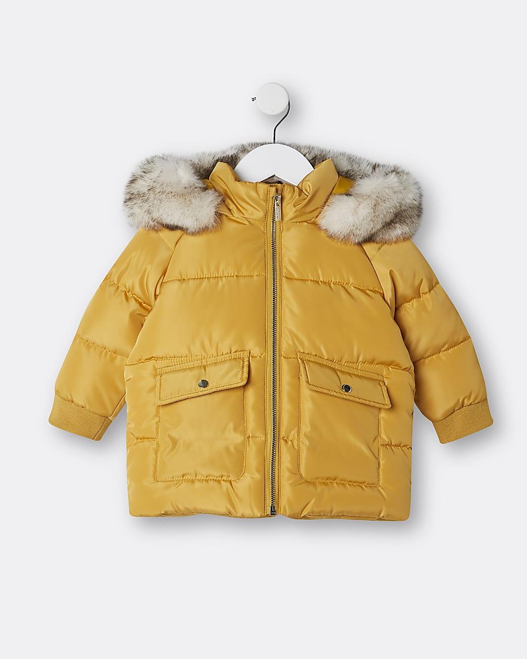 Mini girls yellow hooded faux fur puffer coat