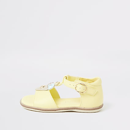 Mini girls yellow ice cream sandals