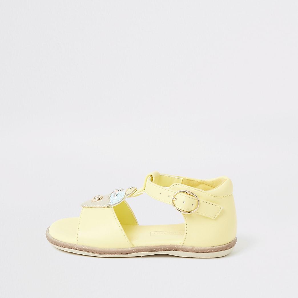 Mini girls yellow ice cream sandals
