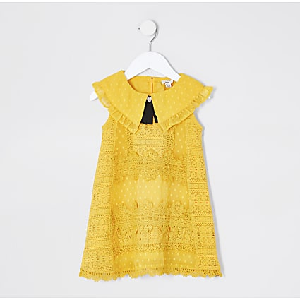 Mini girls yellow lace swing dress