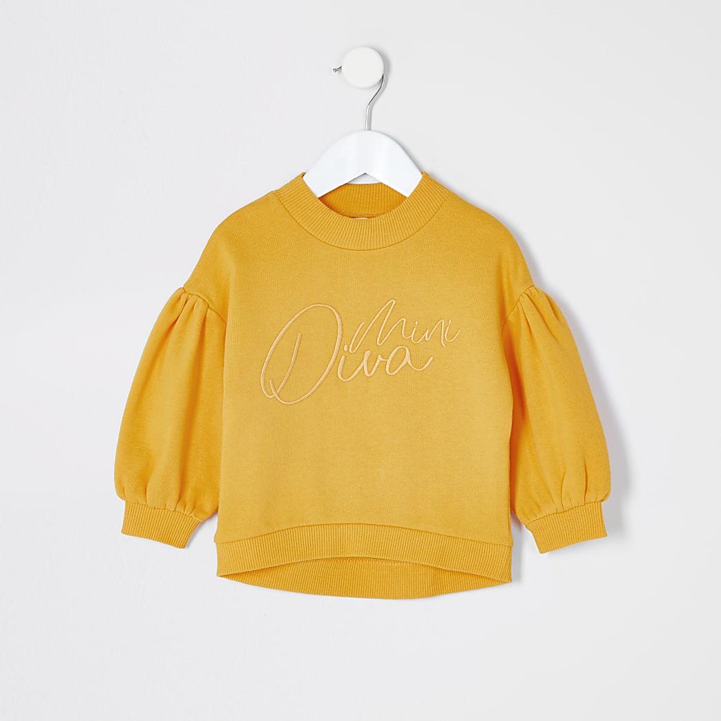 Mini - Geel 'Mini Diva' sweatshirt voor meisjes
