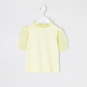 T-shirt à manches bouffantes en organzajaune Mini fille