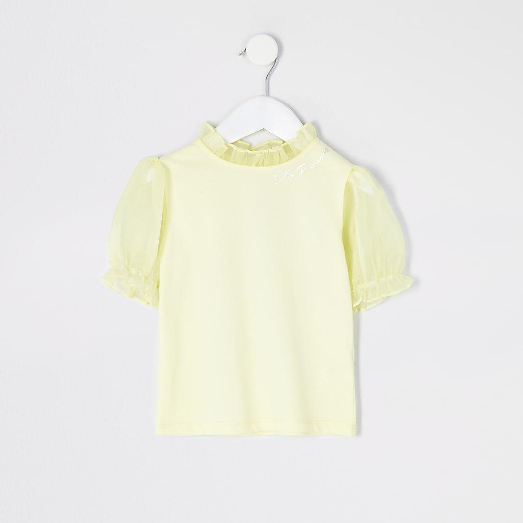Mini girls yellow organza puff sleeve T-shirt