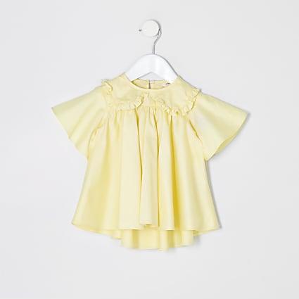 Mini girls yellow poplin top