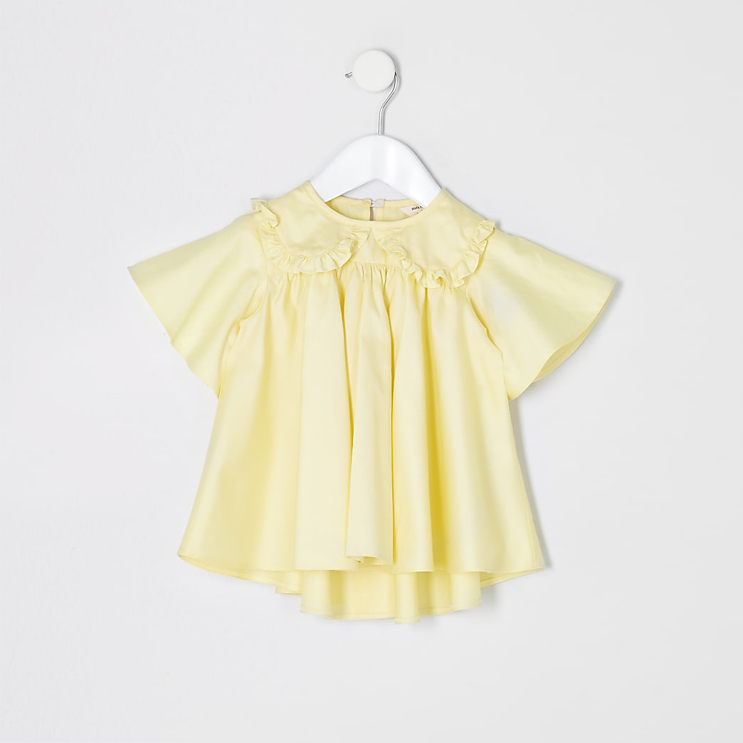 Mini girls yellow poplin top