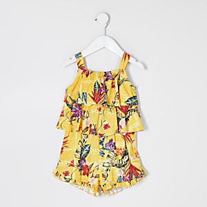 Mini– Gelber Overall für Mädchen mit Print und Rüschen