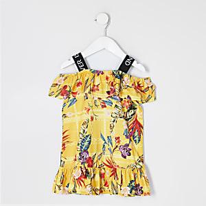 Robe jaune impriméRIàvolants Mini fille