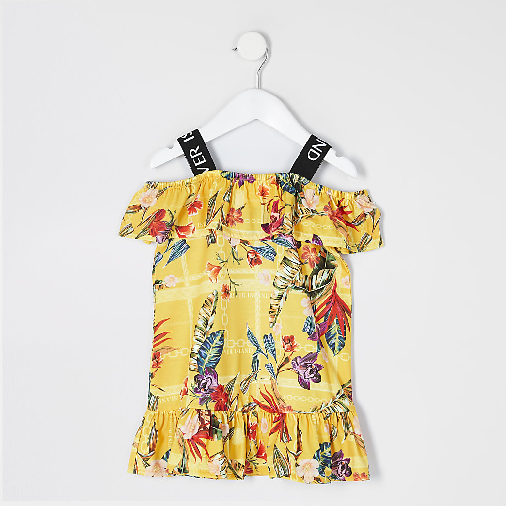Mini girls yellow printed RI frill dress