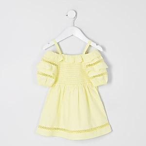 Mini girls yellow puff sleeve bardot dress