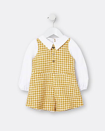Mini girls yellow puff sleeve playsuit