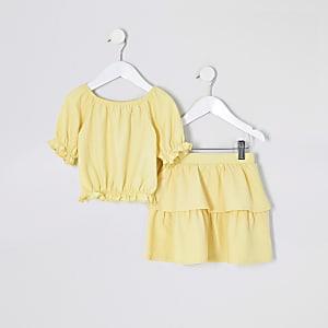 Tenue avec top jauneà manches bouffantes Mini fille