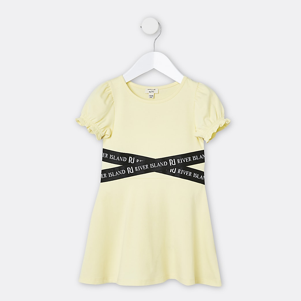 Mini girls yellow RI skater dress
