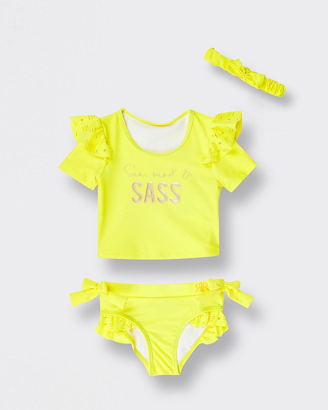 Mini girls yellow 'Sass' bikini set