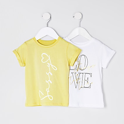 mini girls yellow 'Sassy' 2 pack t-shirts
