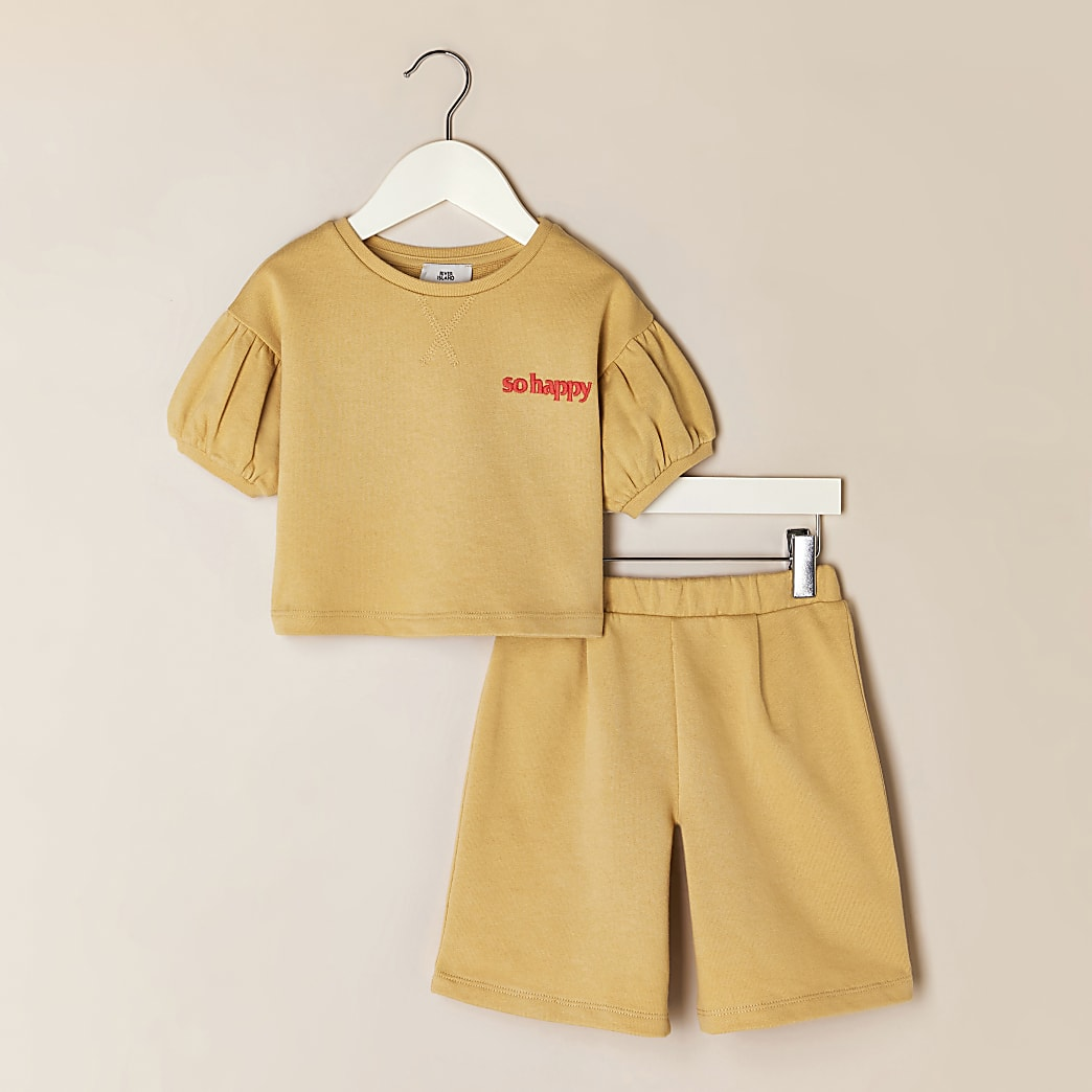 Mini girls yellow 'So Happy' t-shirt outfit
