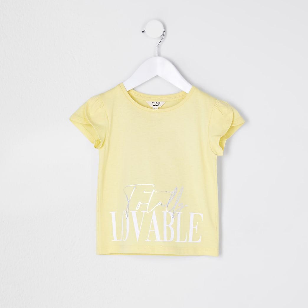 Mini girls yellow 'Totally Lovable' t-shirt