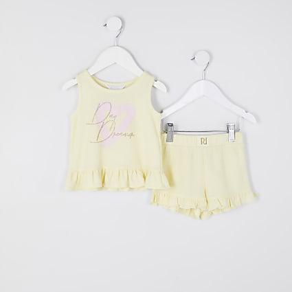 Mini girls yellow waffle pyjama outfit