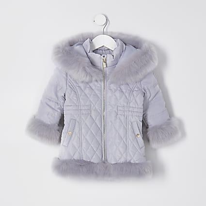 Mini grey quilted fur hem puffer coat