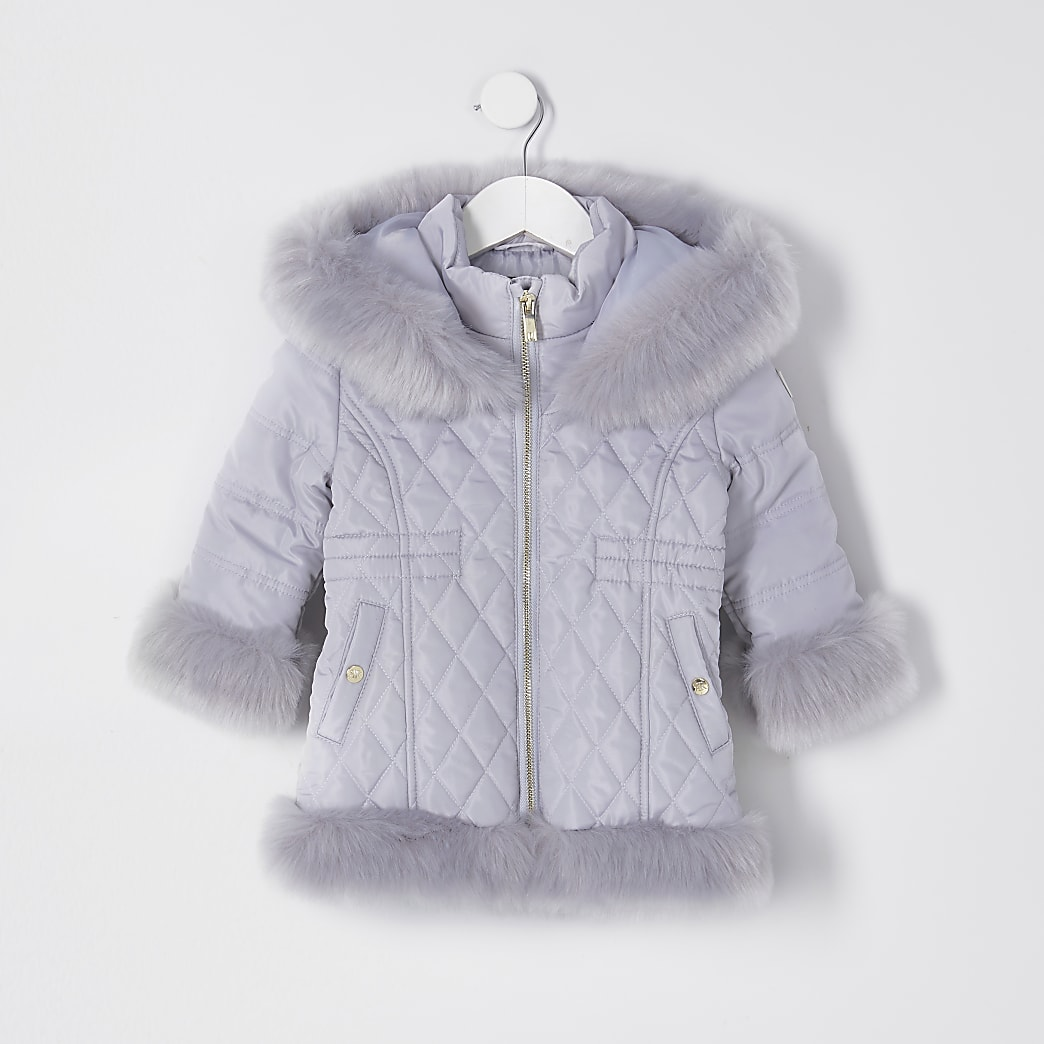 Mini grey quilted fur hem puffer coat