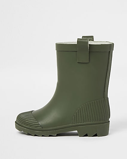 Mini khaki ribbed wellie boots
