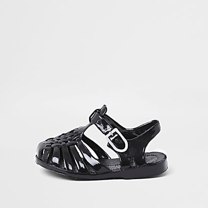 Mini kids black caged jelly sandals