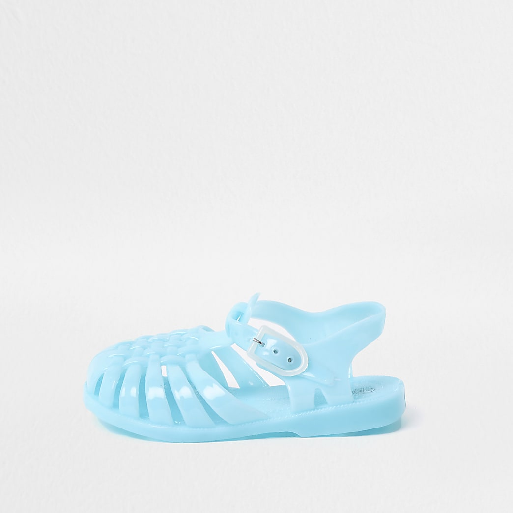 Mini kids blue caged jelly sandals