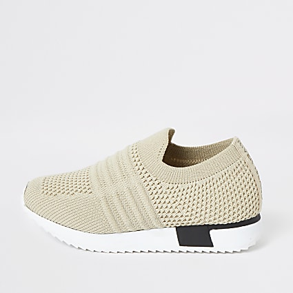 Mini Kids cream knit runner trainers