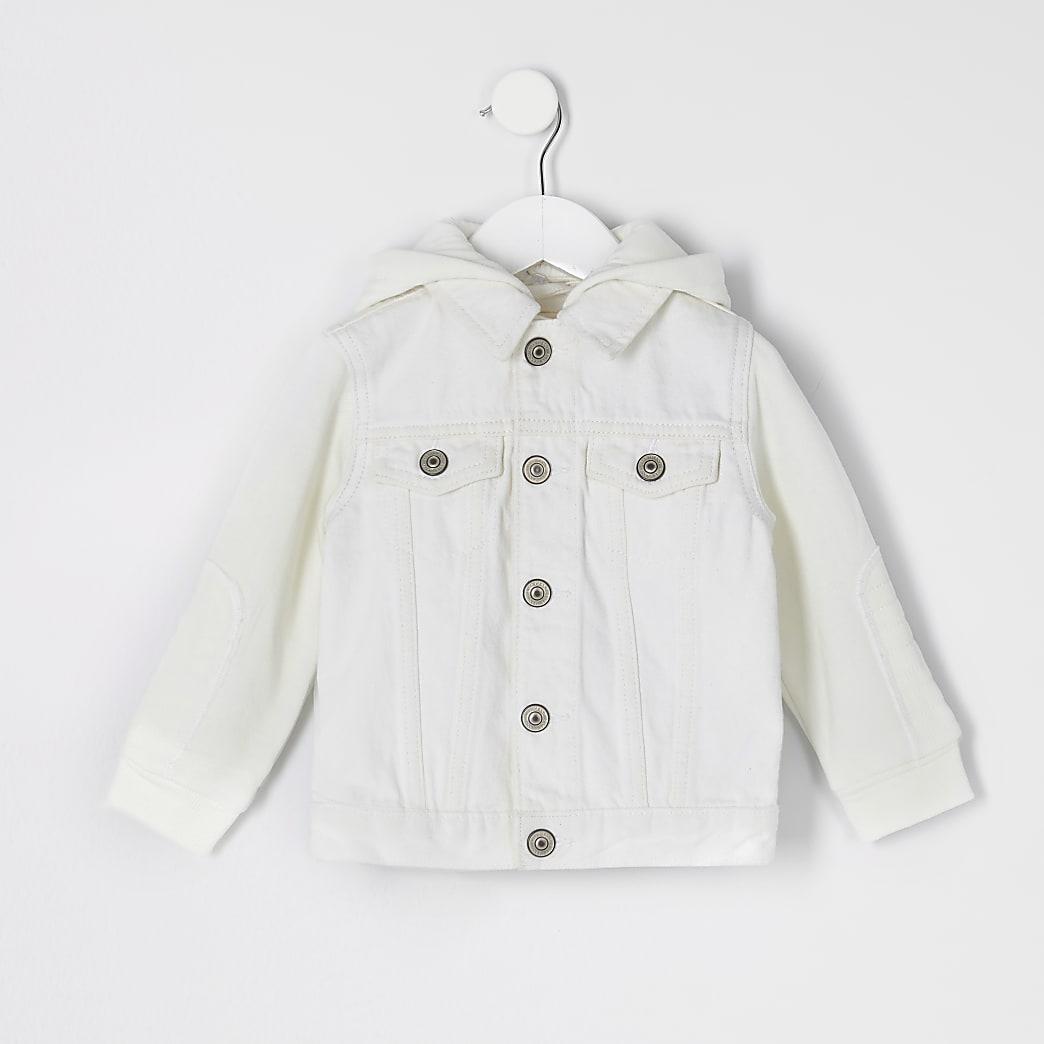 Mini kids ecru hooded denim jacket