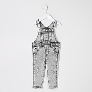 Mini kids grey denim dungarees
