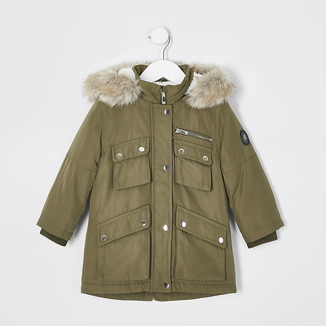 Mini kids khaki faux fur hood parka coat