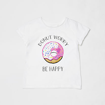 Mini kids white donut charity t-shirt