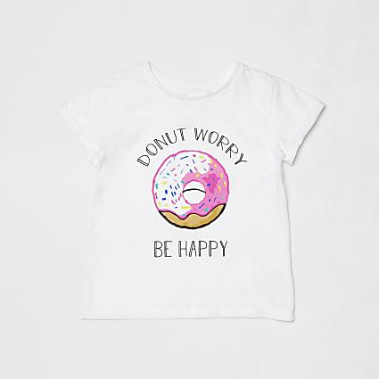 Mini kids white donut charity t-shirt