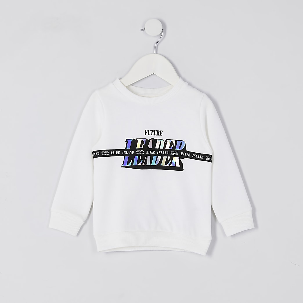 Mini kids white 'Future Leader' sweatshirt