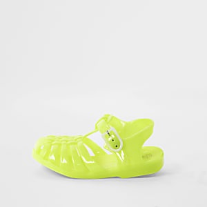 Mini kids yellow caged jelly sandals