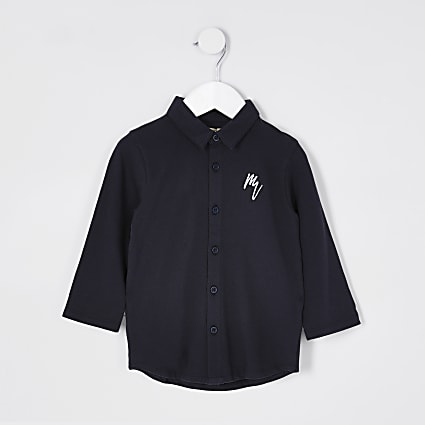 Mini navy long sleeve pique shirt