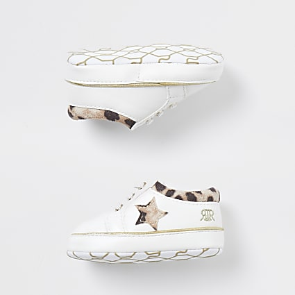 Mini white leopard lace up trainers