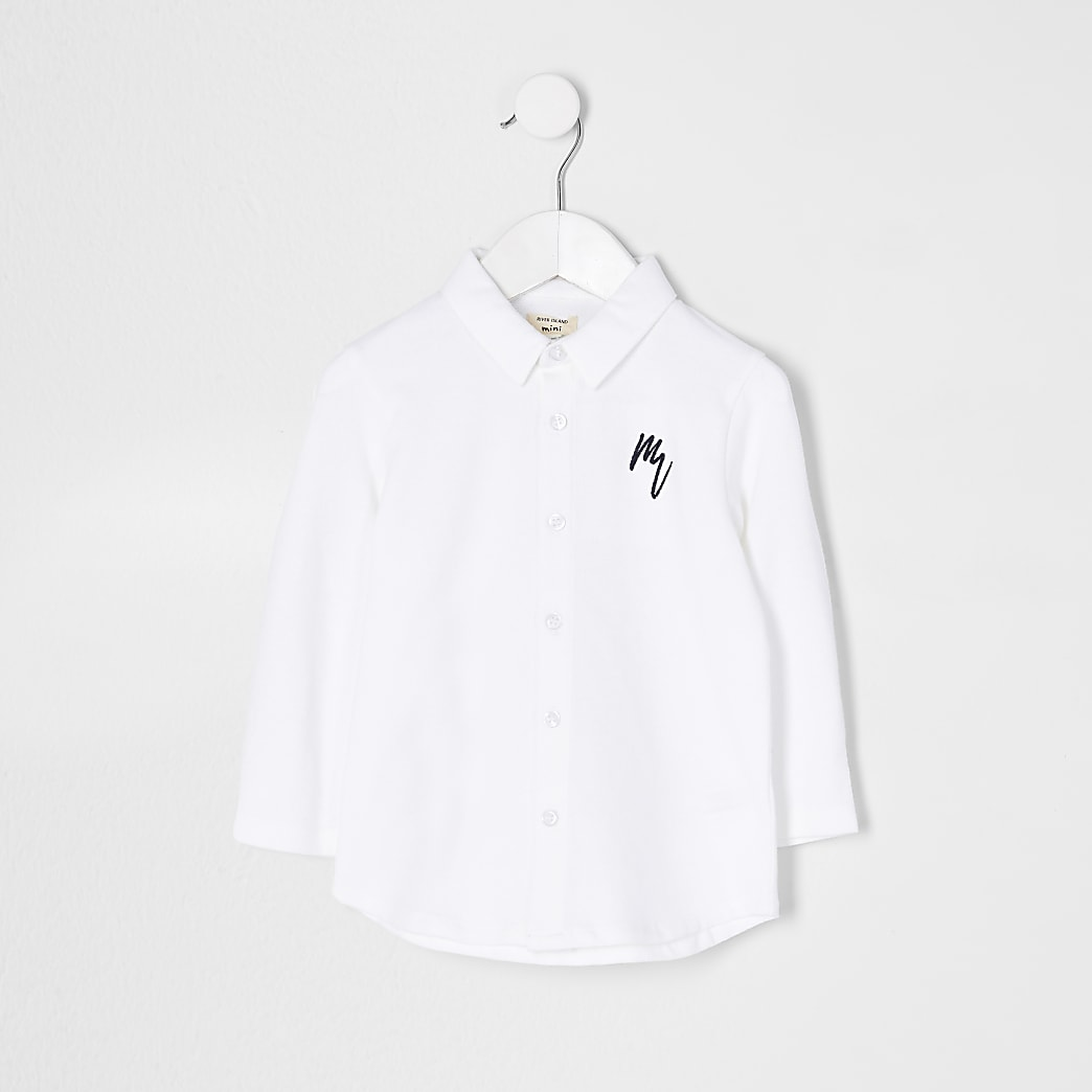 Mini white long sleeve pique shirt
