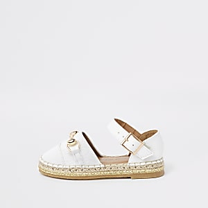 Mini white RI monogram closed toe espadrille