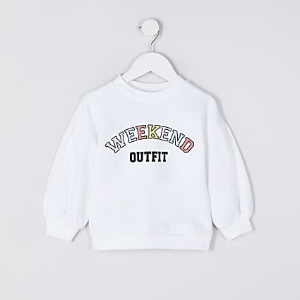 Mini white 'Weekend outfit' sweatshirt