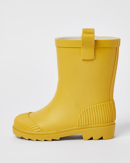 Mini yellow ribbed wellie boots