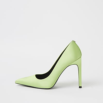 Mint green high heeled court shoes