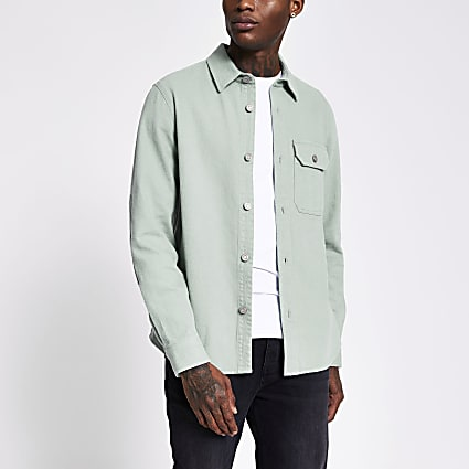 Mint long sleeve denim shacket