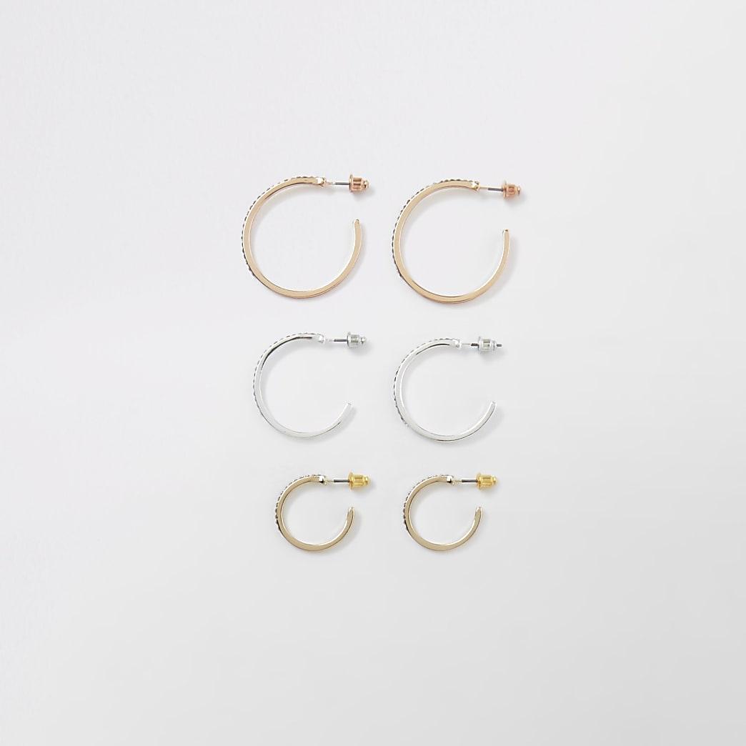 Mix tone diamante pave hoop earrings pack